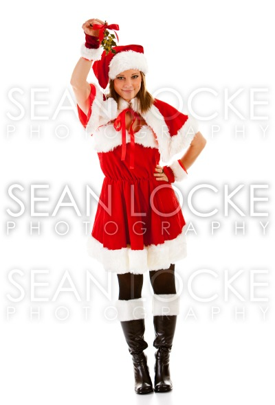 Christmas: Santa Girl with Mistletoe Stock Photography Content by Sean Locke