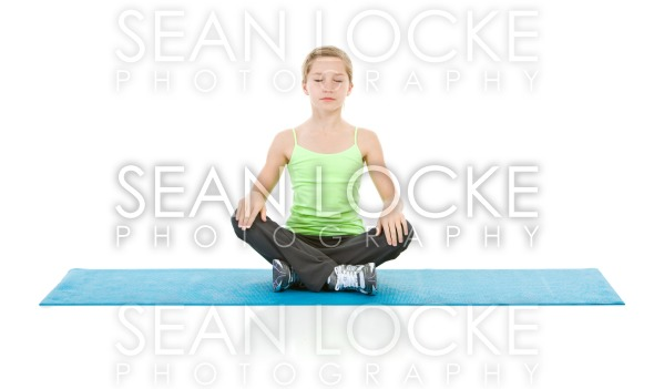 Family: Young Girl with Eyes Closed Meditating Stock Photography Content by Sean Locke