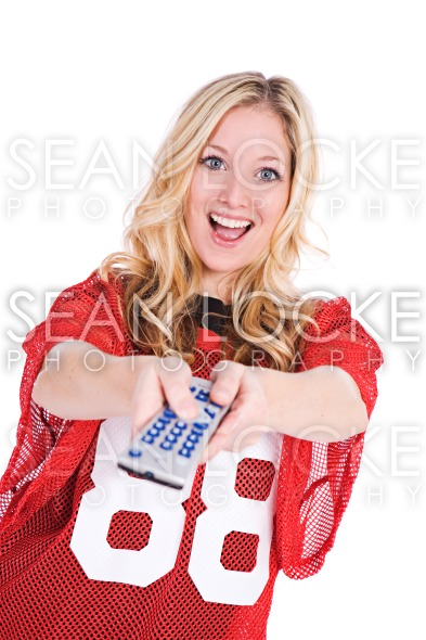 Football: Woman Watching Sports On Tv Stock Photography Content by Sean Locke
