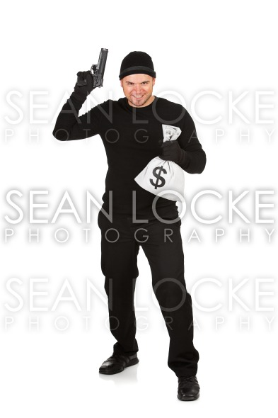 Burglar: Man Holding Gun and Cash Stock Photography Content by Sean Locke