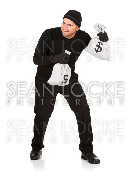 Burglar: Stealing Money Bags Stock Photography Content by Sean Locke
