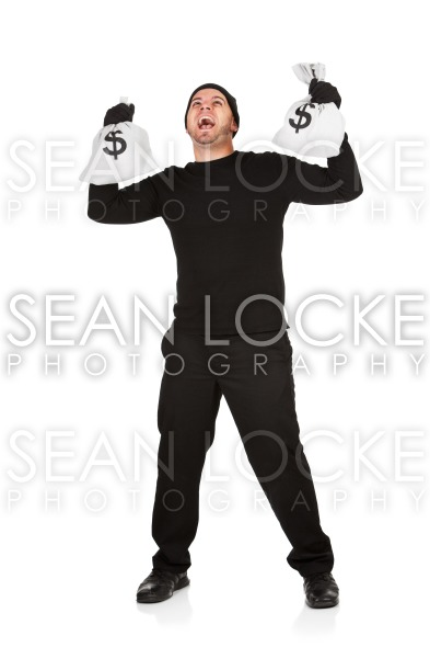 Burglar: Laughing Bank Robber with Cash Stock Photography Content by Sean Locke