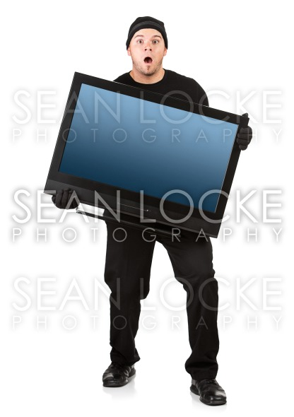 Burglar: Caught While Stealing Television Stock Photography Content by Sean Locke