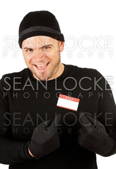 Burglar: Pointing at Nametag Stock Photography Content by Sean Locke