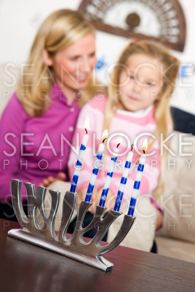 Hanukkah:  Focus on Lit Candles Stock Photography Content by Sean Locke