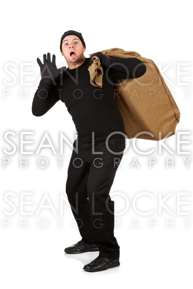 Burglar: Man Caught with Stolen Goods Stock Photography Content by Sean Locke
