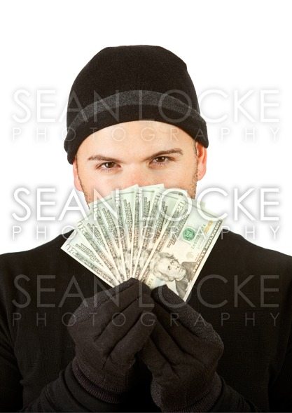 Burglar: Thief Holding Money Fan Stock Photography Content by Sean Locke