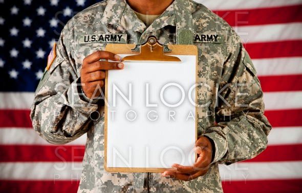 Soldier: Holding a Blank Clipboard Stock Photography Content by Sean Locke