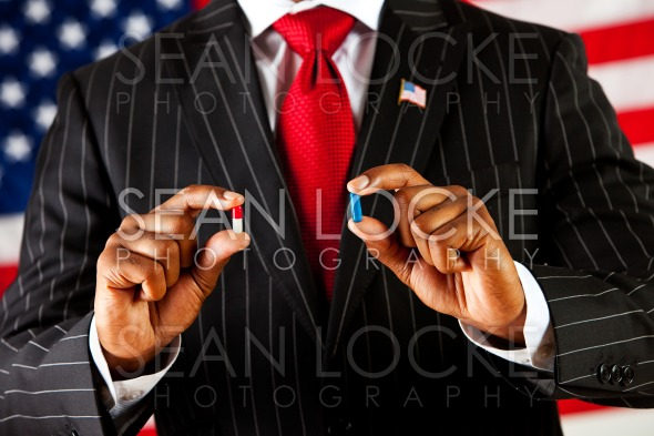 Politician: The Red Pill or the Blue Pill Stock Photography Content by Sean Locke