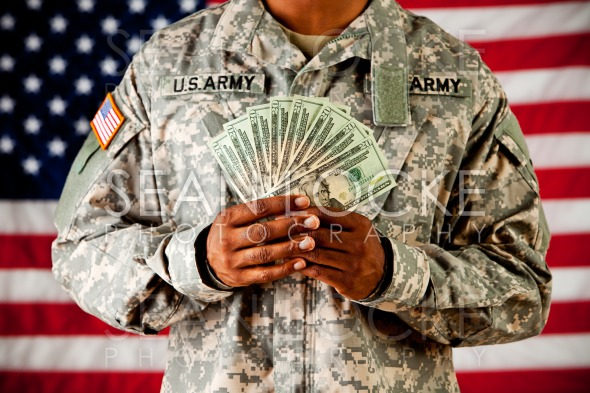 Soldier: Holding Money Fan Stock Photography Content by Sean Locke