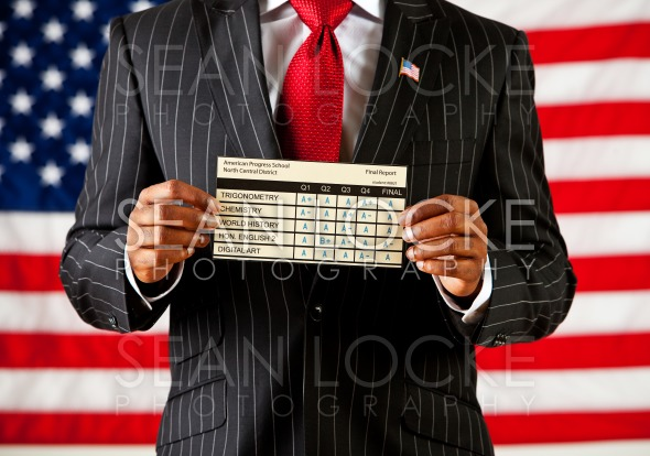 Politician: Holding School Report Card Stock Photography Content by Sean Locke