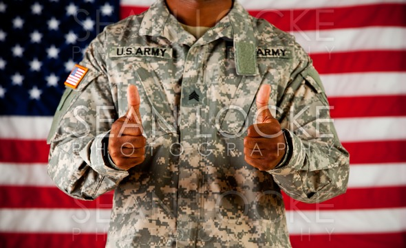 Soldier: Giving a Thumbs Up Stock Photography Content by Sean Locke