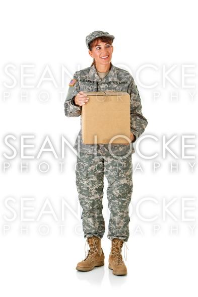 Soldier: Holding a Cardboard Box Stock Photography Content by Sean Locke