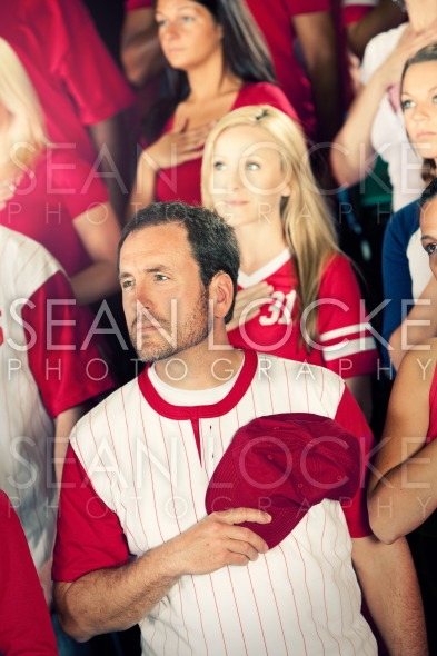 Fans: Man Listens to National Anthem Stock Photography Content by Sean Locke