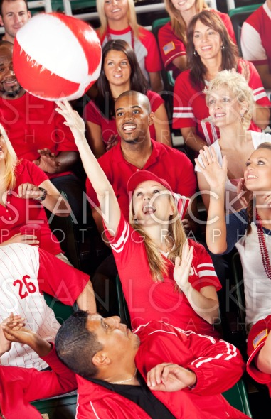 Fans: Crowd Plays with Beach Ball Stock Photography Content by Sean Locke