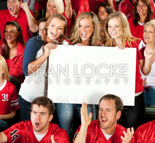 Fans: Excited Women Cheering with Blank Sign Stock Photography Content by Sean Locke