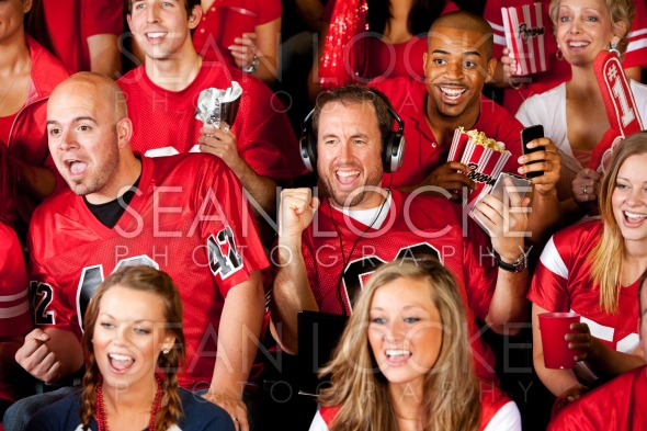 Fans: Fan Watching Game But Listening to Others Stock Photography Content by Sean Locke
