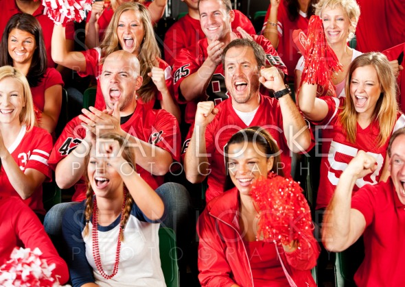 Fans: Team Has Excited Group of Fans Cheering Stock Photography Content by Sean Locke