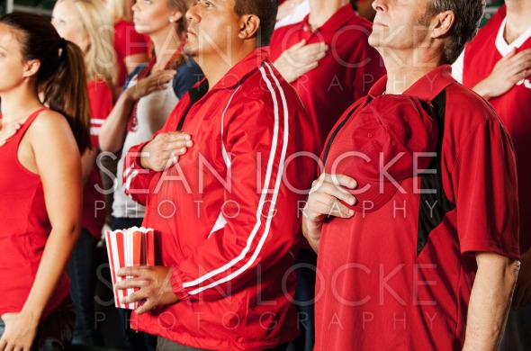 Fans: Crowd Stands for National Anthem Stock Photography Content by Sean Locke