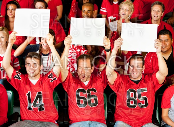 Fans: Guys Holding Up Small Blank Signs Stock Photography Content by Sean Locke