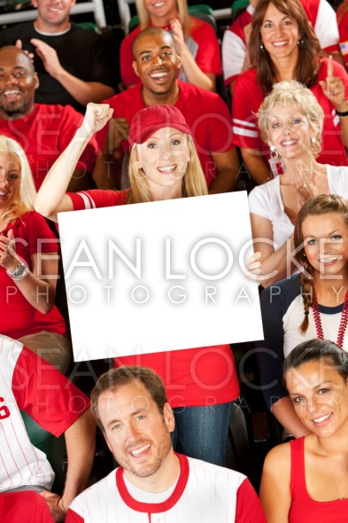 Fans: Woman Holds Blank Sign to Camera Stock Photography Content by Sean Locke