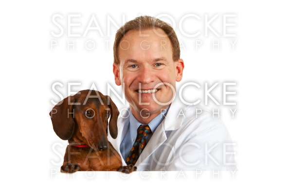 Veterinarian: Vet Behind White Card with Dacshund Stock Photography Content by Sean Locke