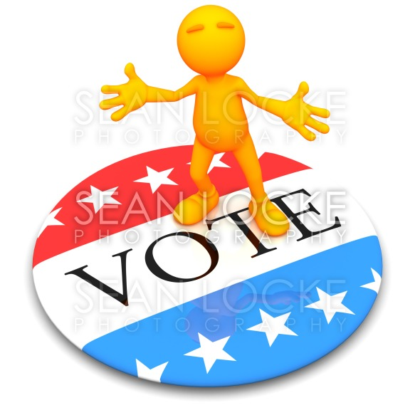 3d Guy: Standing on Giant Vote Button Stock Photography Content by Sean Locke