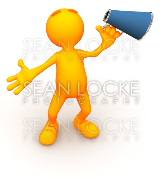 3d Guy: Holding a Megaphone Stock Photography Content by Sean Locke