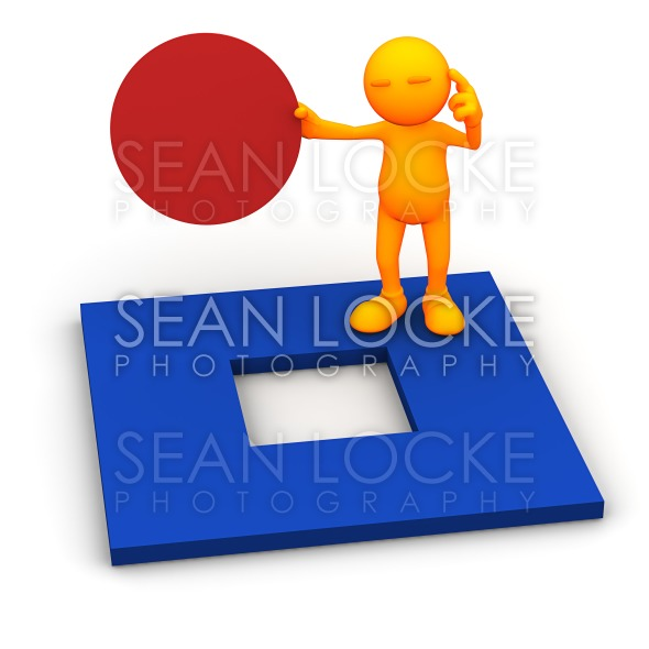 3d Guy: Can't Fit Round into Square Stock Photography Content by Sean Locke