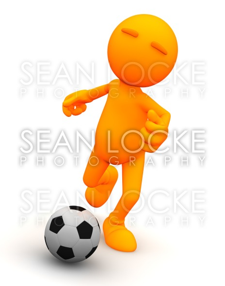 3d Guy: Kicking a Soccer Ball Stock Photography Content by Sean Locke