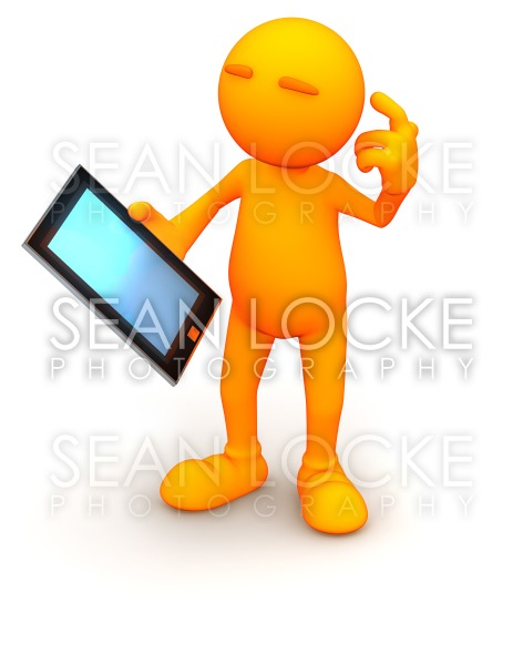 3d Guy: Holding a Blank Tablet Computer Stock Photography Content by Sean Locke