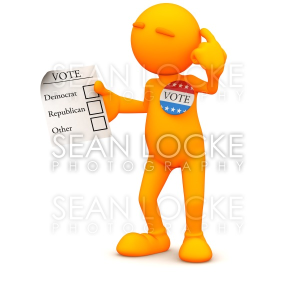 3d Guy: Man Ready to Vote in Election Stock Photography Content by Sean Locke