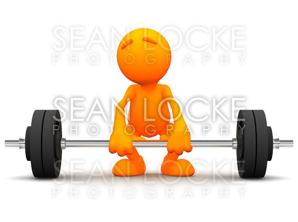 3d Guy: Trying to Lift Barbell Stock Photography Content by Sean Locke