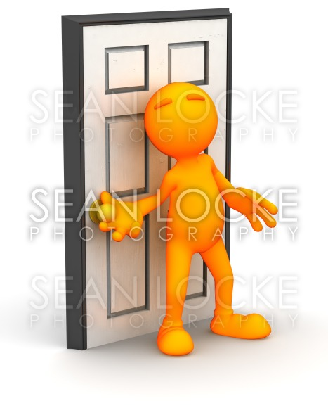 3d Guy: Ready to Open A Door Stock Photography Content by Sean Locke