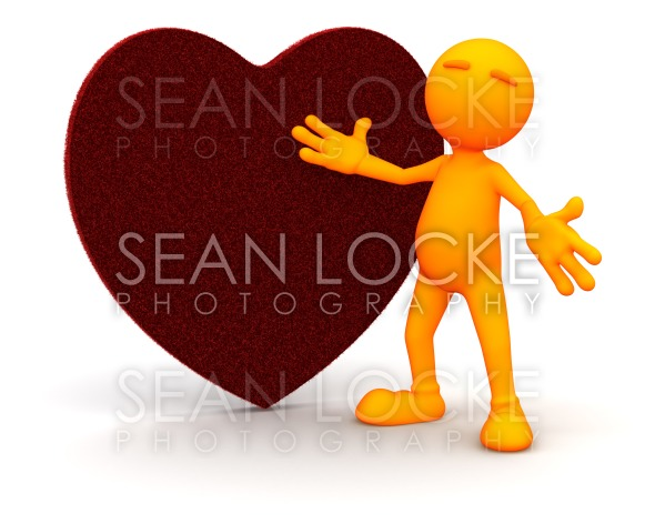 3d Guy: Standing By a Fuzzy Heart Stock Photography Content by Sean Locke