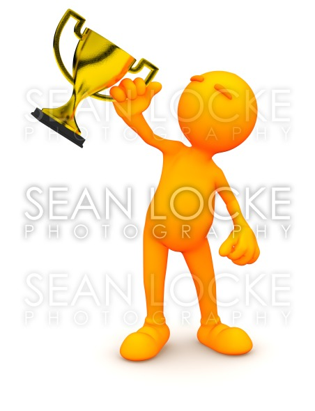 3d Guy: Man Holding Gold Trophy Stock Photography Content by Sean Locke