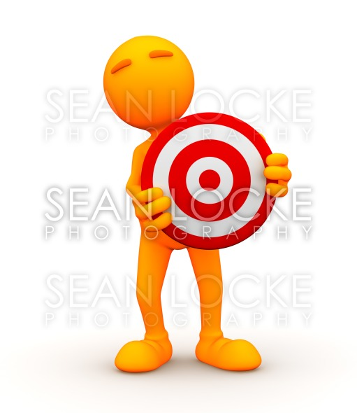 3d Guy: Standing Behind a Bullseye Stock Photography Content by Sean Locke