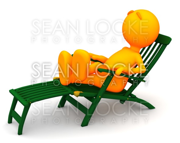 3d Guy: Man Relaxes in Deck Chair Stock Photography Content by Sean Locke
