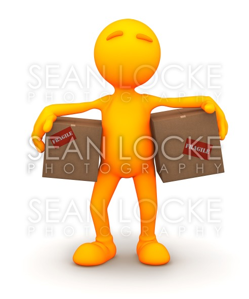 3d Guy: Carrying Cardboard Boxes Stock Photography Content by Sean Locke
