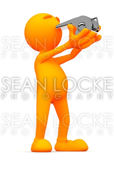 3d Guy: Man Blowing Whistle Stock Photography Content by Sean Locke