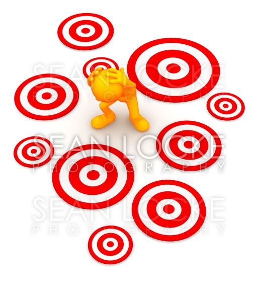 3d Guy: Standing Amid Targets Waiting to Be Hit Stock Photography Content by Sean Locke