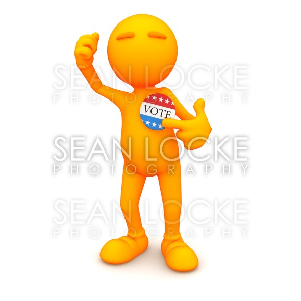 3d Guy: Pointing to Vote Button Stock Photography Content by Sean Locke
