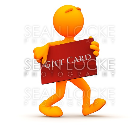3d Guy: Shopping with a Gift Card Stock Photography Content by Sean Locke