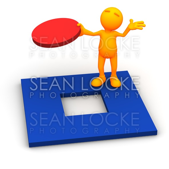 3d Guy: Fitting a Round Peg in Square Hold Stock Photography Content by Sean Locke
