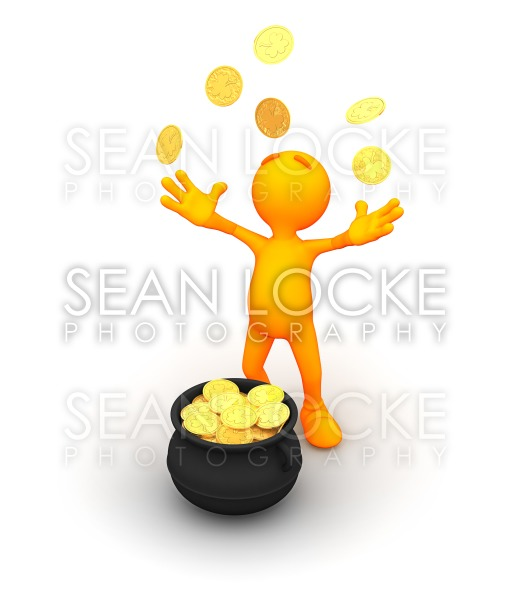 3d Guy: Throwing Gold into the Air Stock Photography Content by Sean Locke