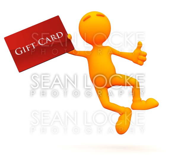3d Guy: Jumping with a Gift Card Stock Photography Content by Sean Locke