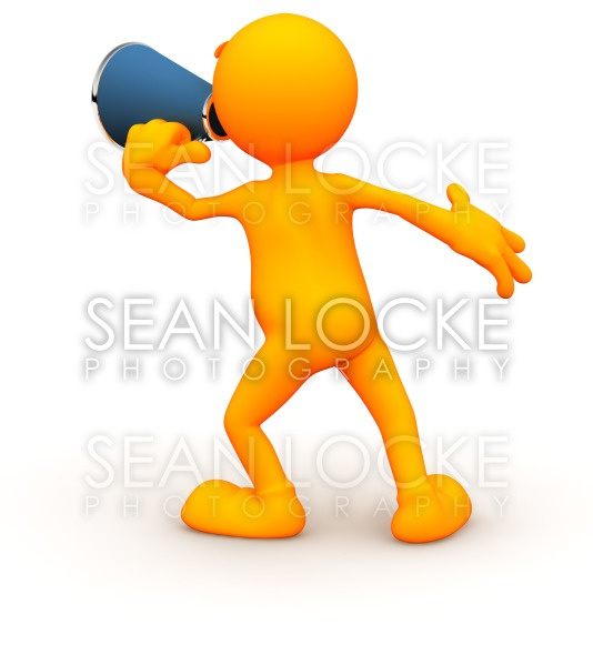 3d Guy: Yelling Through a Megaphone Stock Photography Content by Sean Locke