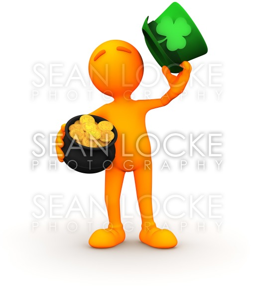 3d Guy: Irish Man with Pot of Gold Stock Photography Content by Sean Locke