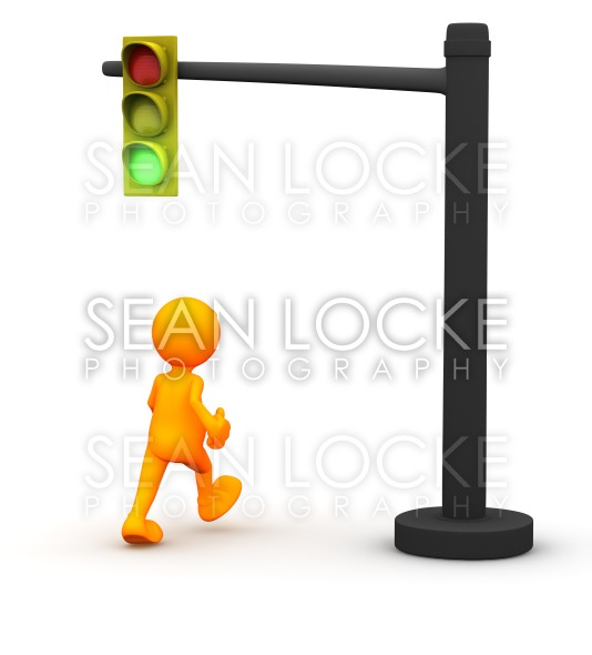 3d Guy: Man Gets Green Light Stock Photography Content by Sean Locke
