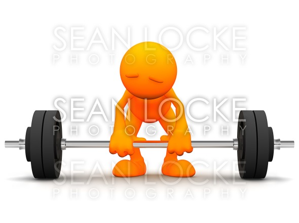 3d Guy: Man Ready to Lift Barbell Stock Photography Content by Sean Locke